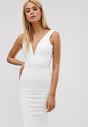 bodycon midi dress with v bar plunge neck in white
