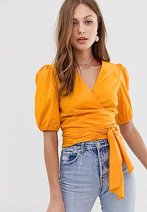 wrap tie waist blouse in orange