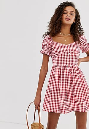 gingham milkmaid dress