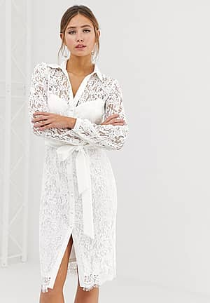 lace shirt dress with tie waist in white