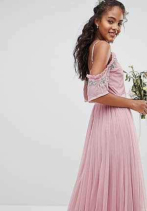 Cold Shoulder Sequin Detail Tulle Maxi Dress With Ruffle Detail