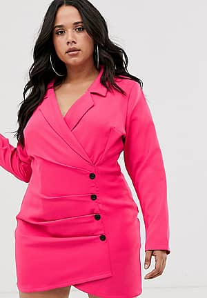 blazer dress with contrast button in hot pink