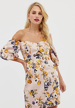 structured mini dress with puff sleeve in floral