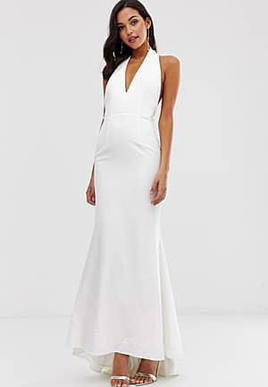 extreme plunge front maxi dress with drop back in white