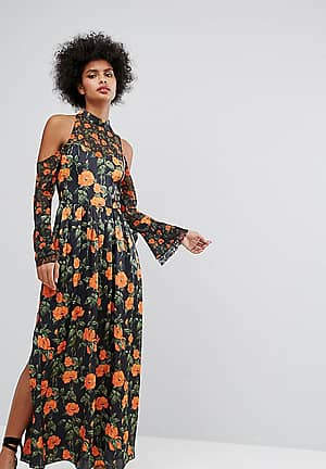 Maxi Dress With Fluted Tie Sleeves In Floral Print