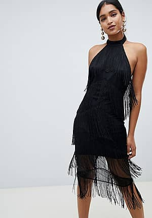 halter midi fringe dress