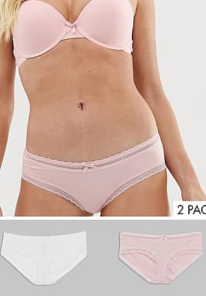 Lila 2 pack organic cotton with lace hipster in pink and white