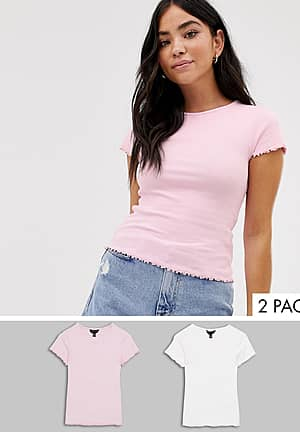 crop rib t-shirt 2 pack in white and pink