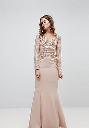 Embroided Lace Sleeve Maxi