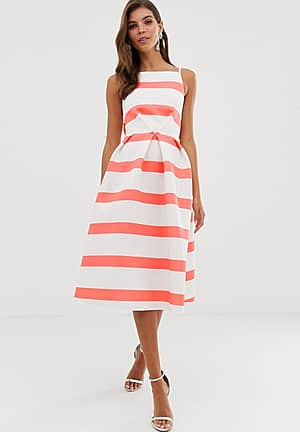 stripe bow back midi prom dress