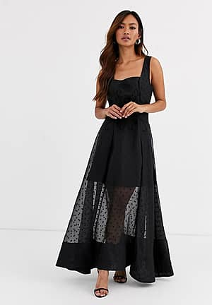 chime embroidered polkadot gown