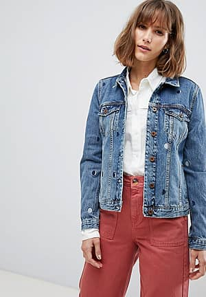 Trucker Jacket with Moon Embroidery