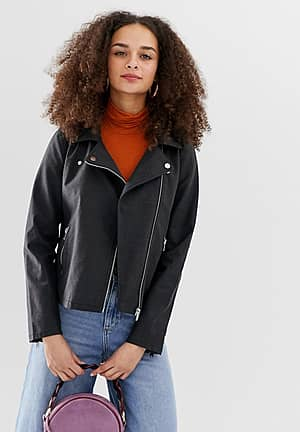 Steady faux suede biker jacket