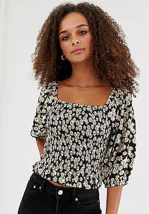square neck puff sleeve blouse in black pattern