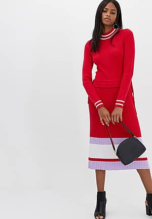 colour block knitted dress in red