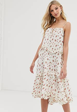 cami midi dress with tiered skirt in vintage floral