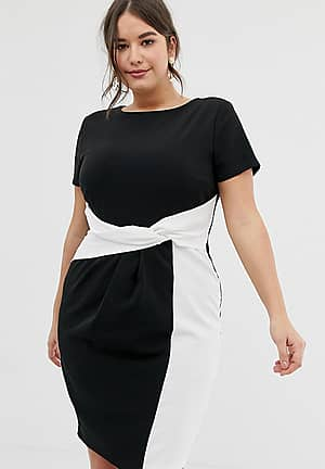 bodycon midi dress in colour block with twisted waist detail in mono