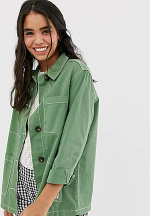 contrast stitch army jacket in green