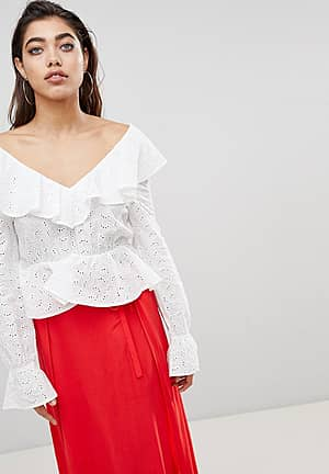 Blouse in Anglais Lace with Deep V Back and Frills