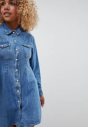 ASOS DESIGN Petite denim fitted western shirt dress with seam detail in midwash blue