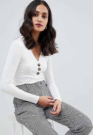 long sleeve v-neck top with button down in cream