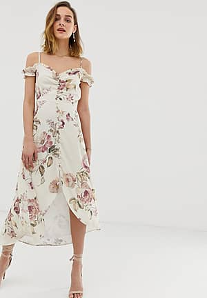 ruffle cold shoulder high low midi dress in cream floral