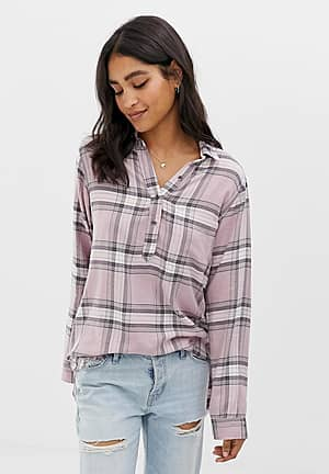 drapey check shirt