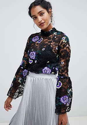 high neck foral lace top
