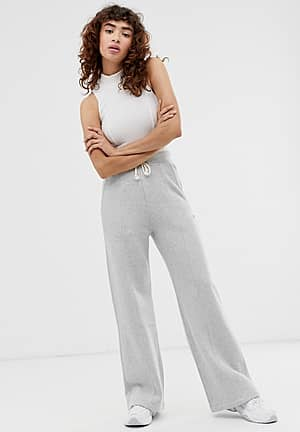 reverse weave wide leg track pants with embroidered logo