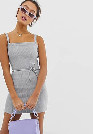 ribbed structured cami dress