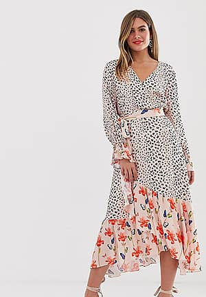 wrap midi dress in mixed print