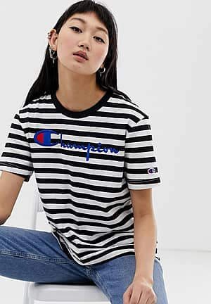 relaxed t-shirt with front logo in stripe