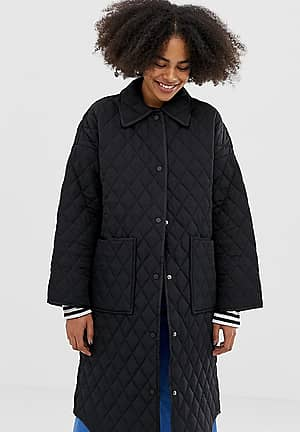 quilted long line jacket in black