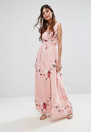 Plunge Front Maxi Dress in Floral Print