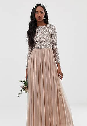 Bridesmaid long sleeve maxi tulle dress with tonal delicate sequins in taupe blush