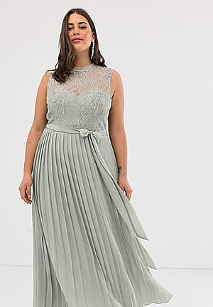 lace embroidered top maxi dress in grey