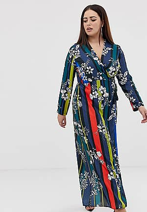 wrap front maxi dress in contrast foral stripe print
