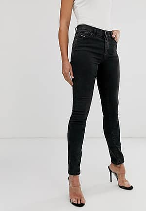 roisin mid rise skinny jeans in washed black