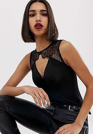 wrap lace shoulder body in black