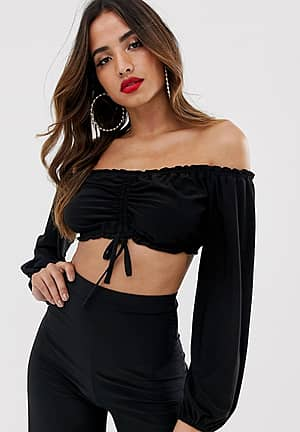 bardot crop top with ruched detail in black