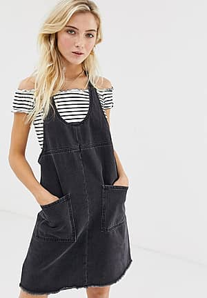 denim pinnafore dress
