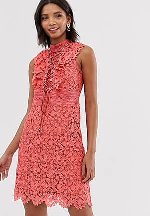 lace a line mini dress with lace up front in coral