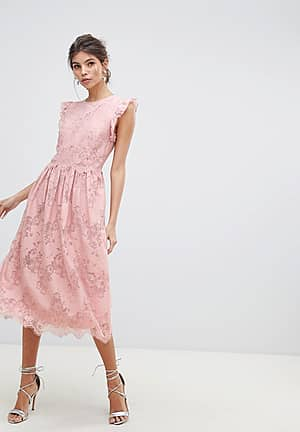 frill edge sleeves and scallop hem with lace rose detail midi prom dress