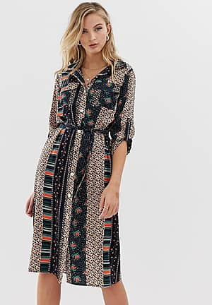 shirt dress with tie waist in mixed floral print