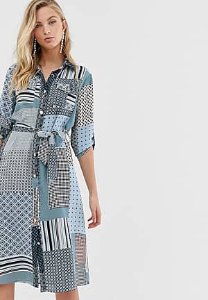 shirt dress with tie waist in mixed print