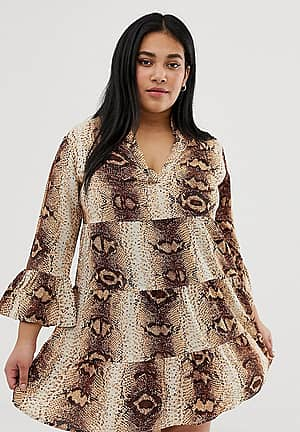 snake print v neck shift dress