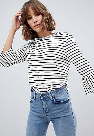 Stripe Top with Ruffle Sleeves