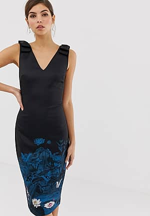 Dinina wonderland bodycon midi dress