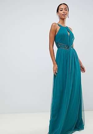 plunge front embellished maxi dress in green