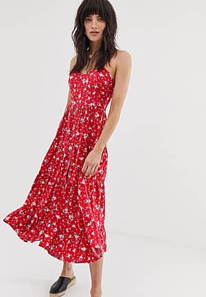 button front tiered midaxi dress in pink floral print